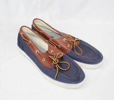 Ralph Lauren Polo Rylander Sneakers Casual Boat Shoes Blue Canvas Leather 12D