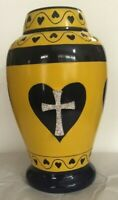 Cross in Heart Cremation Urn for Human Ashes  Beautiful Funeral Urn Adult urn