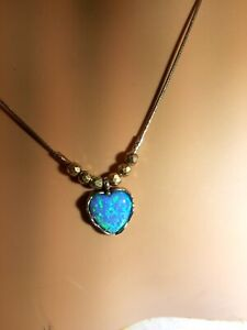 DIDAE Israel 925 Silver Opal Heart Necklace