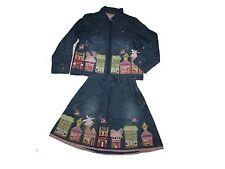 Girl Monsoon Denim Jacket & Skirt Set Embroidered Fairy Village Size 3-4/4-6