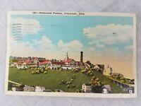 Postcard OH Rookwood Pottery Cincinnati Ohio Kraemer Art 1936 Franklin Postmark