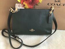 NWT. COACH Pebbled Leather Mia Double Zip Crossbody Bag Evergreen F76645