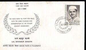 India 1966 Shastri Mourning Issue GPO Bombay FDC SHS Postal History