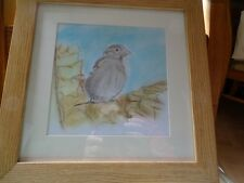 "Original Chalk & Pencil  Drawing ""Sparrow on Mahonia"" Framed 12""x12"""