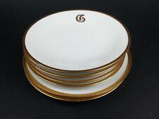 """6pc UNO Favorite Bavaria Limoges Plates Letter """"G"""" Monogrammed Porcelain w/ gold"""