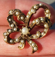 Vintage Pin Brooch Bow Faux Pearls