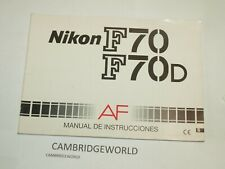 Nikon F70 F70D Slr Camera Instruction Manual Guide Book Original Genuine Spanish