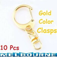 10 Pcs Collectible Strong Split Gold Key Ring Clasp Fit Keychain Style Fashion