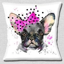 French Bulldog Cushion Cover 16x16 inch 40cm Black Dog Pink Bow Artistic Modern