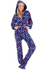 NWT Hearts of Love Hooded Footed Pajamas 1 PC Adult Hoodie L/XXL* LAST ONE
