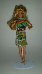 1976 Mattel Barbie Doll Blonde Hair Blue Eyes Minnie Mouse Disney Shirt Dress