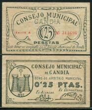 España Guerra Civil  Gandia / 25 Centimos MBC/VF RG2610