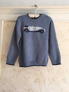 NWT Janie And Jack Boys Vintage Car Sweater 4 4T Blue