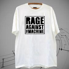 New RAGE AGAINST THE MACHINE rock music Logo Men's White T shirt tee Gildan