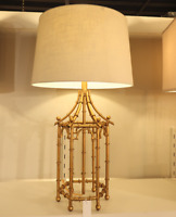 """New Gold Bamboo Chinoiserie Table Lamp French Asian Pagoda Regency 32"""" Light"""