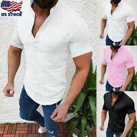 Mens Linen Cotton Short Sleeve Shirt Summer Casual Loose Tops Pullover Blouse US