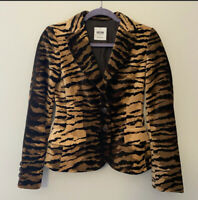 Moschino Cheap and Chic Brown Striped Tiger Animal Print Blazer Jacket Sz 6