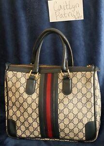 Vintage Gucci Ophidia Web Stripe GG Canvas Leather Shoulder Bag Purse Authentic