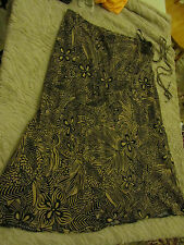 Calf Length Skirt by Bon Marche - Black & Sand Brown Floral - Size 16