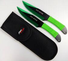 "2pc Green & Black 9"" Jack Ripper Throwing Knife Set w/ Sheath Dagger Kunai"