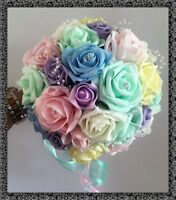 BRIDES POSY bouquet Pastel coloured roses with pearl loops