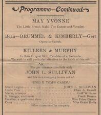 *HEAVYWEIGHT CHAMP JOHN L SULLIVAN RARE 1902 UNCLE TOM'S CABIN STAGE PROGRAM*