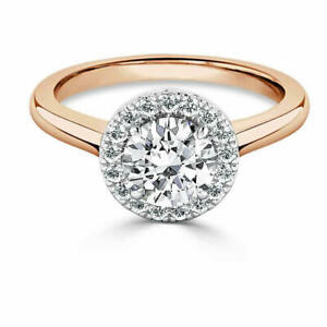 1.35 Ct Moissanite Round Cut Rose Gold Engagement Ring 14K Solitaire Girl ring