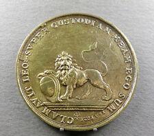 """Antique Brass Medal. Lion. """"Clamavit leo super custodiam meam ego sum"""" ???"""