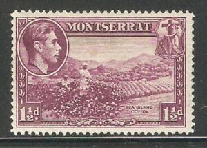 Montserrat 1942, KG-VI, 1½ p, Scott # 94,Mint Hinged* (MT-2)