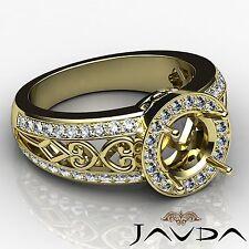 Diamond Engagement Ring 0.75Ct Halo Pave 14k Yellow Gold Round Cut Semi Mount