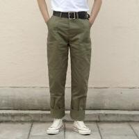 Herringbone Twill Military Trousers Retro 70s Men's Army Pants HBT Green Regular
