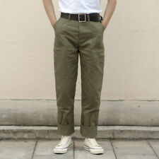 Herringbone Twill Military Trousers Retro 70s Men's Army Pants HBT Green Regular