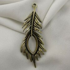 Vintage Style Bronze Tone Alloy Cute Peacock Feather Pendant Charms Crafts 12pcs