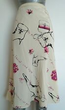 COAST Silk midi skirt size 12 --BRAND NEW-- 100% Silk knee length heel print