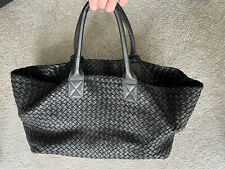 Bottega Veneta Intrecciato Woven Black Leather Large Tote Handbag Ltd Edition