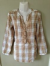 WALLIS Ladies Cream Gold Checked Beaded Blouse Top Roll Up Sleeve Size 8 BNWOT