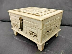 OLD VINTAGE RARE FINE HAND CARVING MARBLE JEWELRY BOX WITH GLASS / MIRROR INSIDE