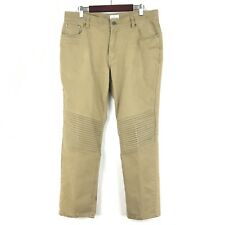 Craft & Flow Mens Size 34 Slim Leg Moto Style Tan Pants Stretch Twill Pant M128