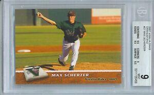 2007 MAX SCHERZER VISALIA OAKS GRANDSTAND #27 MINORS BGS Mint 9 2X9.5 subs