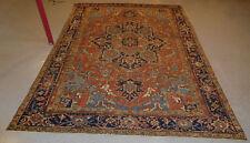 Antique Serapi Heriz rug 7.10 x 11 Persian carpet distressed ca.1920 bohemian