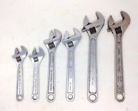 """Lot of 6 Vintage Adjustable Wrenches: 2-6"""", 2-8"""", & 2-10"""""""