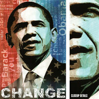 "24W""x36H"" CHANGE by KEITH MALLET - BARACK OBAMA USA AMERICA PRESIDENT 44 CANVAS"