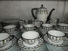 Art Deco Tea Set Rare Black White Floral Petrus Regout Maastricht Holland
