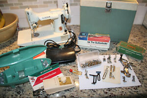 Singer Featherweight 221K w/ case key buttonholer bobbins attachments manual