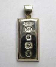 Argent Sterling 1/5th Once détail Hallmark Lingot pendentif 6.7 G