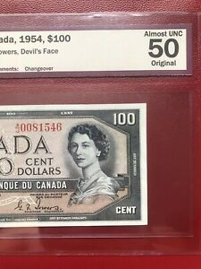 1954 BANK OF CANADA $100 DEVILS FACE BANKNOTE BCS AU50