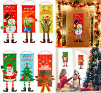 Merry Christmas Ornaments Santa Claus Banner Flag Door Window Hanging Decoration