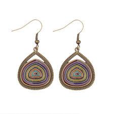 Retro Vintage Multi-color Bronze Water Drop Dangle Carved Women Gypsy Earrings