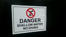 No Diving Danger Vinyl Sticker Warning  ( 1 pc)   6inx4in