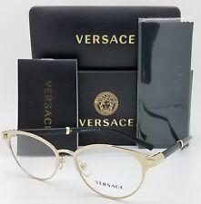 NEW Versace V-Rock RX Frame Glasses VE1259Q 1444 52 Pale Gold AUTHENTIC women